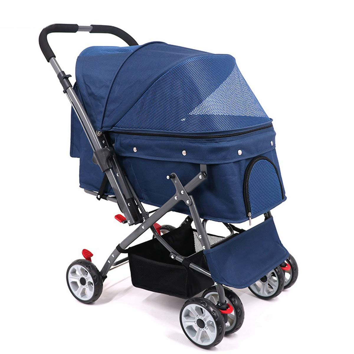 bluee Large Luxury Pet Trolley,Pet Dog Out Baby Stroller Cat Car One-Click Folding Quick Inssizetion