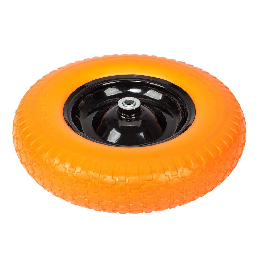 TNPSHOP 16'' Flat Free Wheel Barrow Tire Solid Foam 5/8 Axle Cart Wagon Portable Yellow by TNPSHOP
