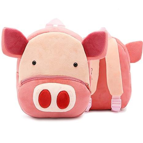 XLHMILY Mini dibujos animados 3D Mochila Infantiles Niños mochila animal Cerdo unicornio mochila algodón de jardín