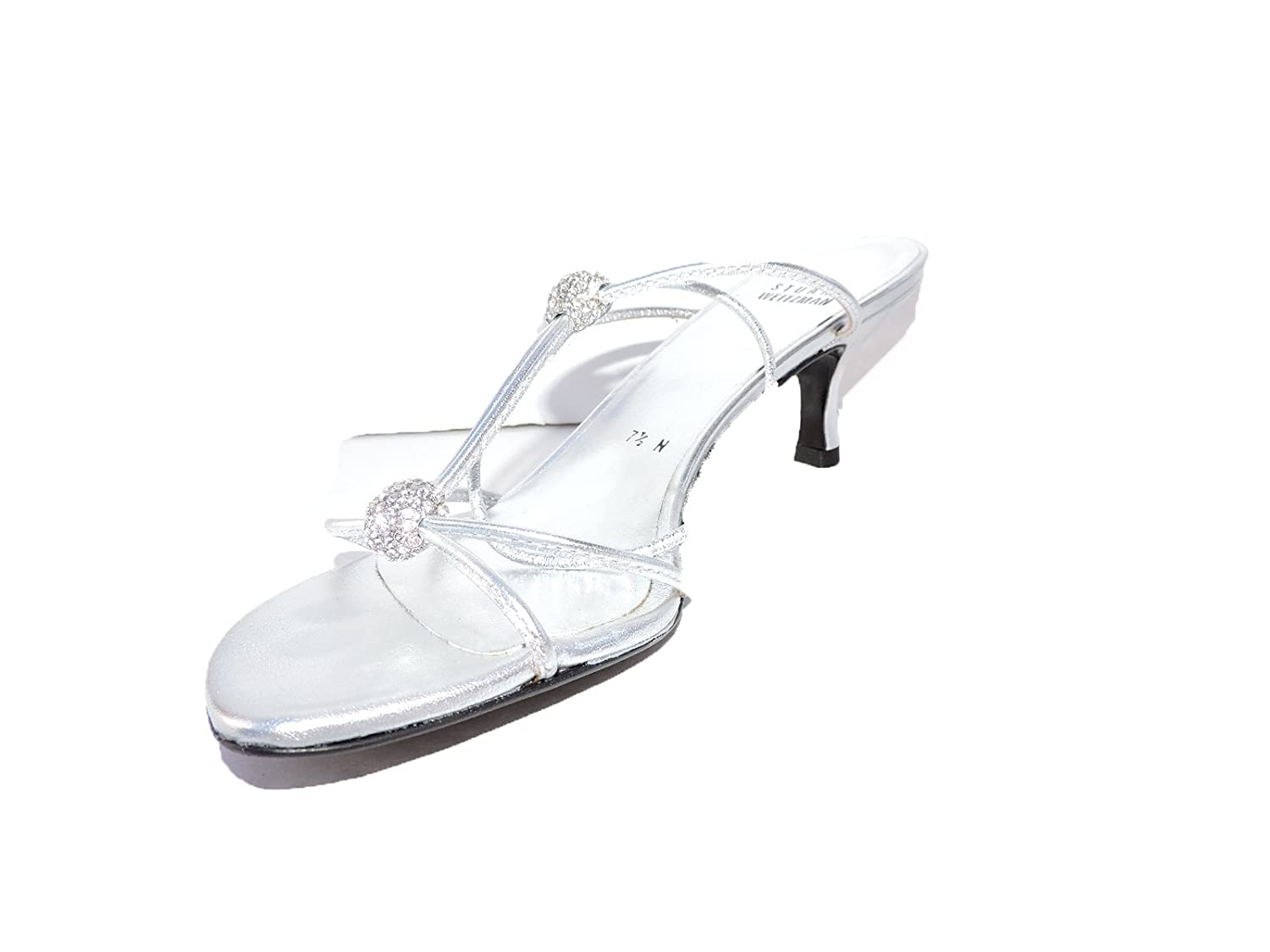 97f2408d72f Amazon.com  Stuart Weitzman Womens TeeHee Silver Jeweled Open Toe Heels  Slingback s Sandals Size 8 N