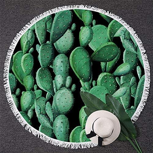 AleXanDer1 Telo Mare Rotondo Green Cactus Tapestry Piante Tropicali Rotonda Telo Succulente Protezione Solare Coperta Vivid Pittura Picnic Mat (Size : Diameter 150cm)