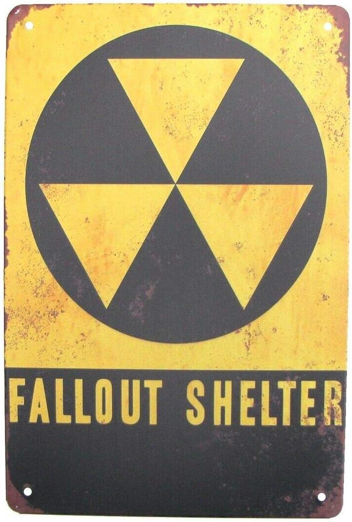 Fallout Shelter Metal Sign Tin Warn Funny Retro Farm Bar Shop Food Restaurant Wall Decoration 8x12 Inch