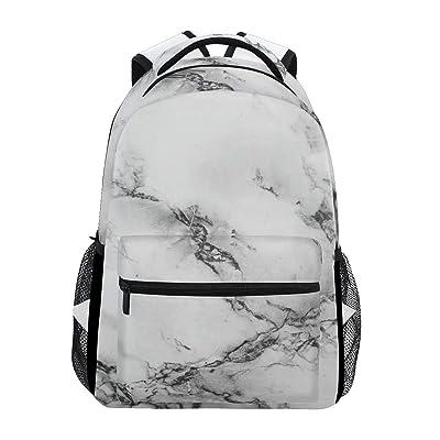 Zzkko Marbre noir et blanc Art Sacs à dos College School Book Sac de voyage randonnée Camping Sac à dos: Deportes y aire libre