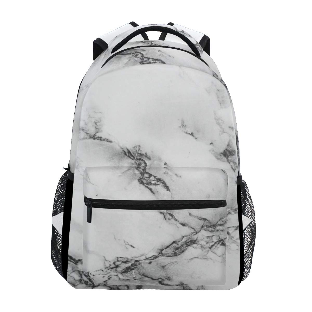 ZZKKO Black and White Marble Art Boys Girls School Computer Backpacks Book Bag Travel Hiking Camping Daypack by ZZKKO