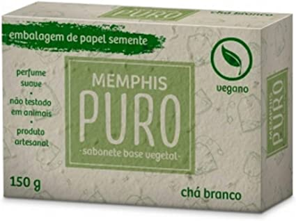 Sabonete Puro Vegetal, Vegano, Chá Branco de 150G., Memphis Puro