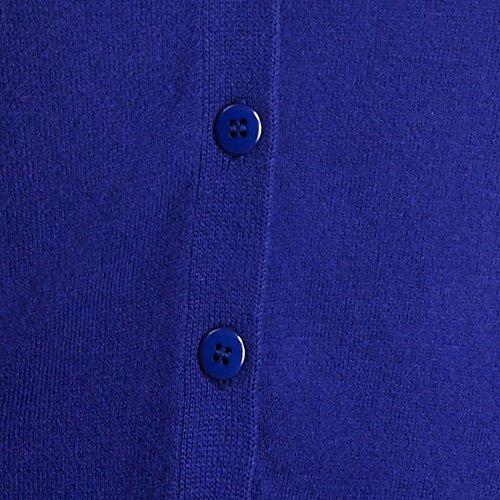 gomiti 100 blu da toppe marrone Cardigan donna con cotone sui aw4X1qp
