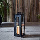 Lights4fun, Inc. Black Metal Solar Powered LED Fully Weatherproof Outdoor Garden & Patio Flameless Candle Lantern