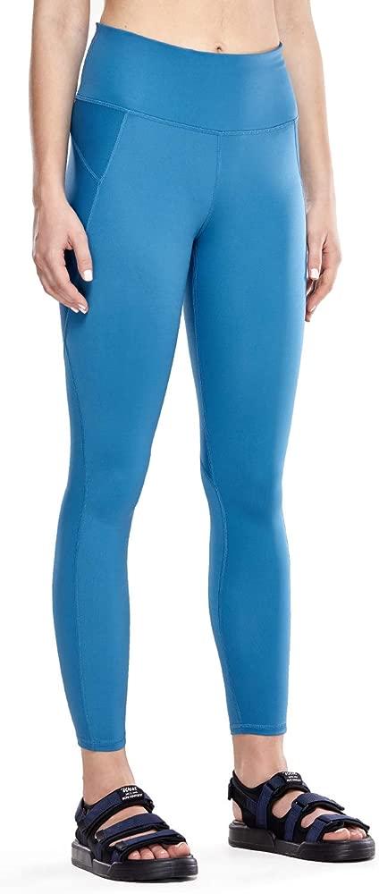 CRZ YOGA Mujer Compression Leggings Cintura Alta Deportivos Running Fitness Pantalon con Bolsillo-63cm