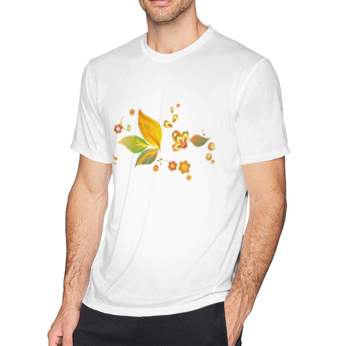 Casual Shirt for Men SUMT4men Yellow Flower Mens Crew Neck Short Sleeve T-Shirt