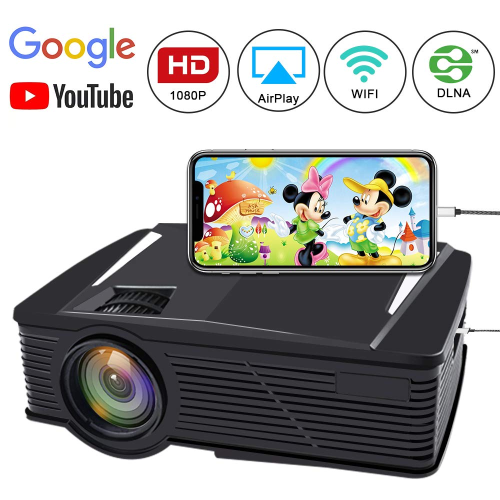 WiFi Video Projector, Neefeaer LCD Portable Projector Mini Home Projector WiFi Directly Connect with Smartphones Device Full HD 1080P Movie Projector Support HDMI USB AV VGA Wireless Display by Neefeaer