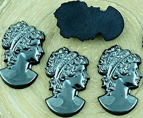 Hematite Cameo (1pcs Cameo Vintage Grecian Greek Woman Portrait Metallic Dark Silver Hematite Metallic Czech Glass Cabochon 25mm x 18mm)