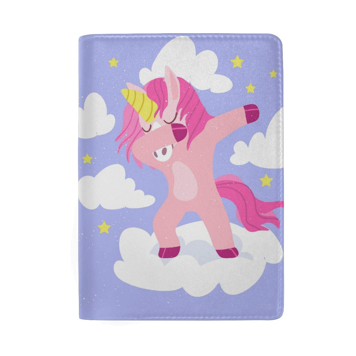 Purple Unicorn Art Real Leather Passport Holder Wallet Case Cover for Men Women