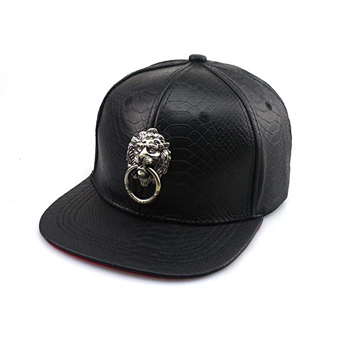aac5d22541f Unisex Leather Lion Head Metal Badges Baseball Cap Adjustable Flat Bill Snapback  Hat Sport Hat Sun