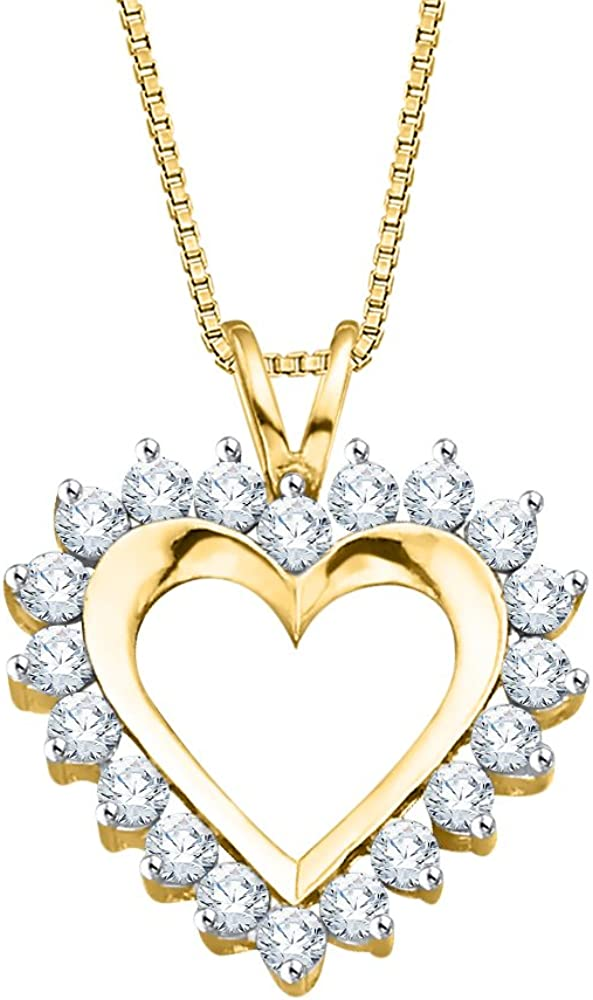 KATARINA Channel Set Diamond Heart Pendant Necklace in Gold or Silver 1//3 cttw, J-K, SI2-I1