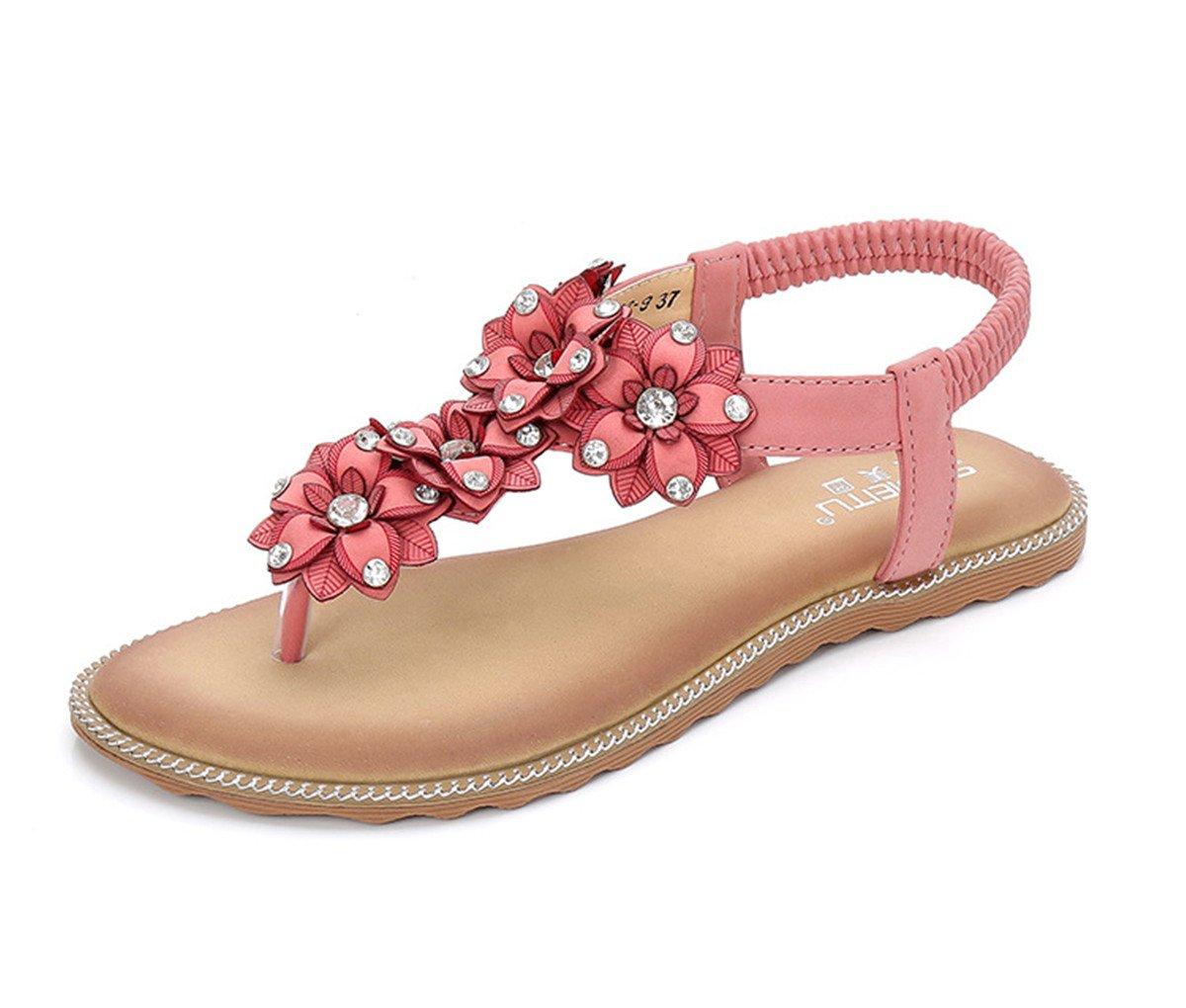 Womens Shoes Comfort Sandals Walking Shoes Damen Sandalen Sandalette Sandalen fuuml;r Frauen Bouml;hmische Sandalen flache Unterseite clip Stift eine groszlig;e Anzahl von Sandalen der nationalen Frauen  US8.5/EU39/UK6.5/CN40|Pink
