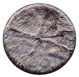 Masada Rugs, Faux Sheep Fur Shag Area Rug Beige (6 Feet x 6 Feet) Round For Sale