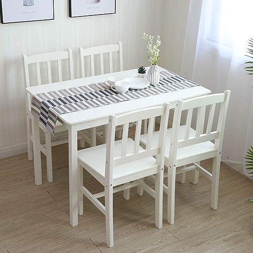 Essgruppe mit 1 Tisch 4 Stühle, Holz Tischgruppe Esstischset Sitzgruppe Esstischgruppe Esszimmergarnitur für 4 Personen, Esszimmergruppe für Küche