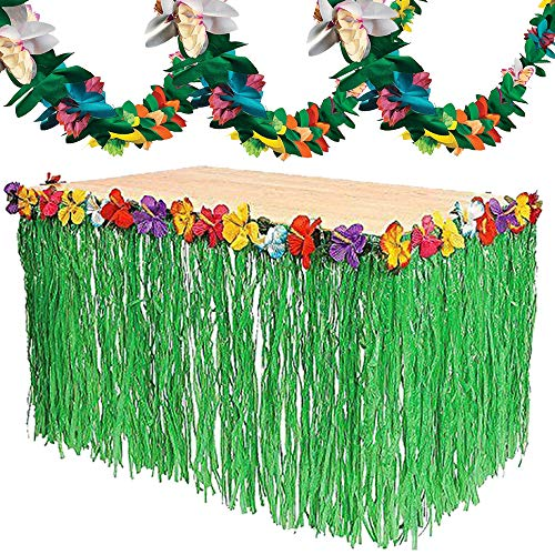 Paper Skirt (Hawaii Party Decorations Set- Green Table Skirt, Tissue Paper Flower Garland for Tropical Luau Party Supplies)