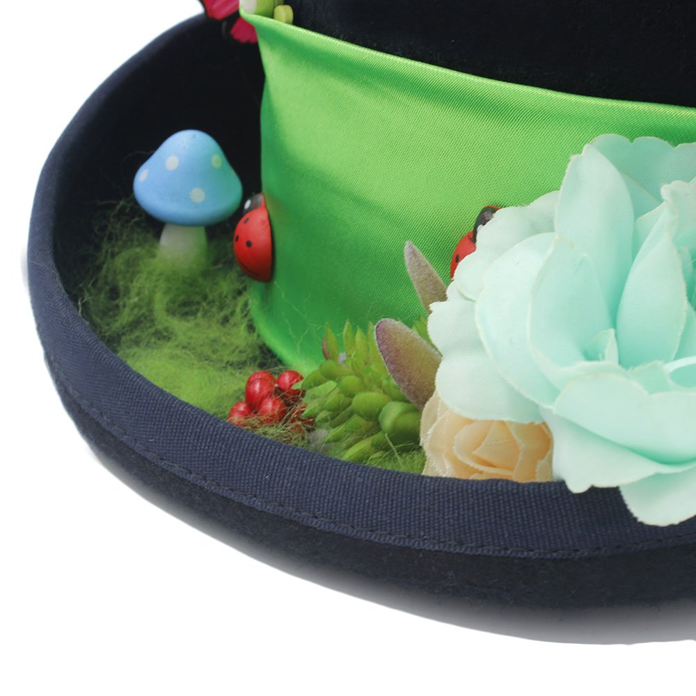 Wkae Schutzhülle Frauen Hat DIY Steampunk Top mit Hat mit Top Forest Blumen Mad Hatter Hut für Damen, Schwarz, 55 cm 2fe09b