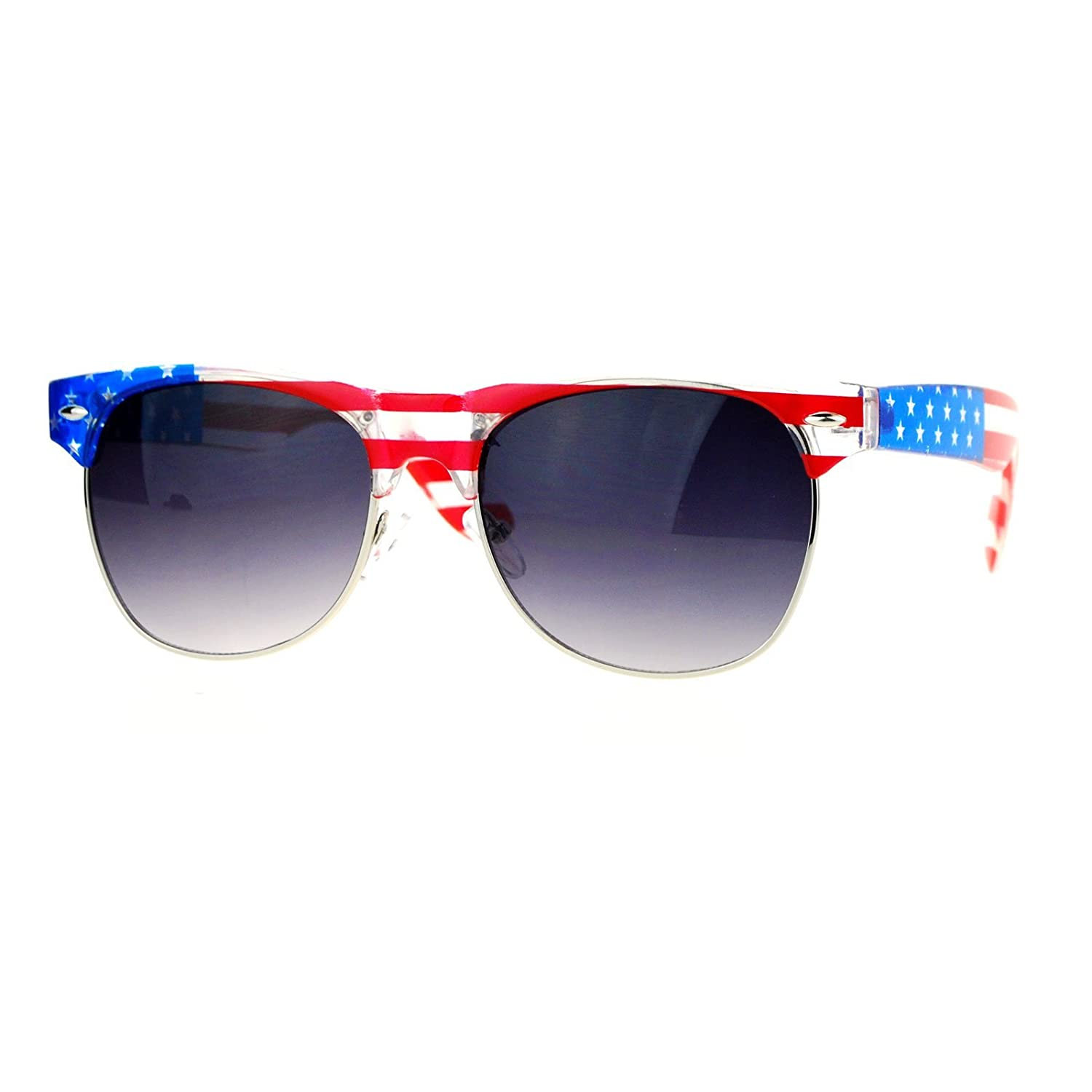 e8723ff94fcd Amazon.com  SA106 Mirror Lens Patriotic USA Flag Print Half Rim Sunglasses  Clear Blue  Clothing