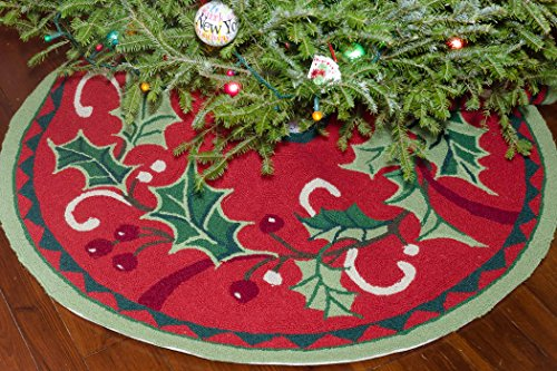 Limited Edition Handmade Hooked Traditional 100% Wool Winter Holly Mistletoe Classic Christmas Tree Skirt. 52'' Round. by NeedlepointPillows.com (Image #1)