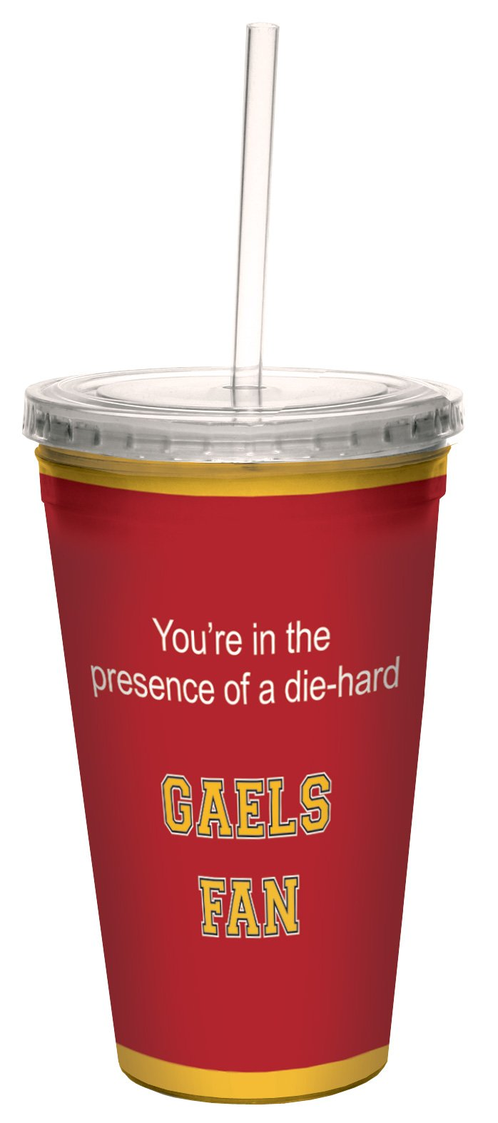 Tree-Free Greetings cc34740 Gaels College Basketball Artful Traveler Double-Walled Cool Cup with Reusable Straw, 16-Ounce by Tree-Free Greetings (Image #1)