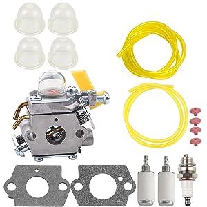 C1U-H60 Carburetor for Ryobi Homelite 308054013 308054012 308054004 308054008 25cc 26cc 30cc String Trimmer Primer Bulb Gasket Fuel Line Filter Tune Up Kit