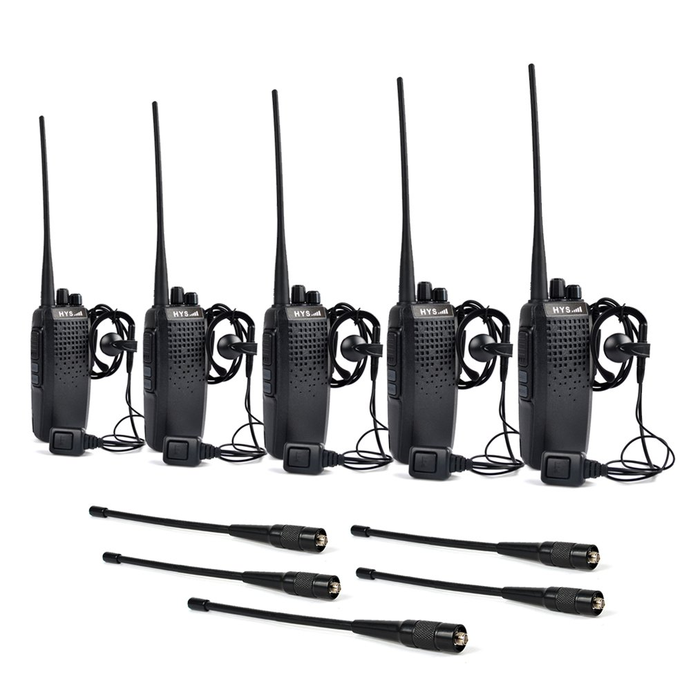 HYS UHF 400-470Mhz 10W Long Range Handheld Two Way Radio with High gain 2m/70cm Replacement Antenna 2 pin Walkie Talkie Headset (5 packs))