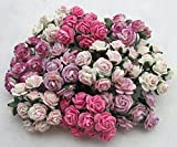 100 pcs Mini Rose Mixed Pink Color Mulberry Paper