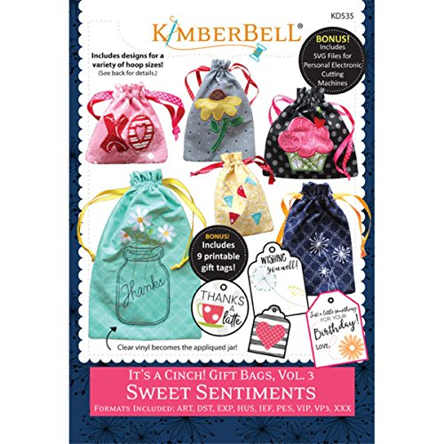 KimberBell - It's a Cinch! Gift Bags, Volume 3: Sweet Sentiments Machine Embroidery CD