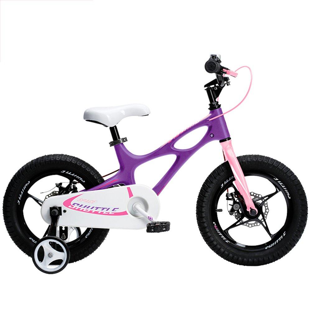 HAIZHEN マウンテンバイク ロイヤルベイビー、新発売のスペースシャトルキッズバイク、男の子用軽量マグネシウムフレームバイク、年齢3-6歳用マグネシウムトレーニングホイール付きバイク 新生児 B07C6R4YYM 14Inch|パープル ぱ゜ぷる パープル ぱ゜ぷる 14Inch