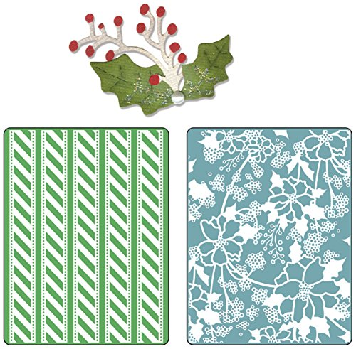 A2 Card Embossing Folder (Sizzix Textured Impressions Embossing Folders with Bonus Sizzlits Die - Alpine Pattern & Flowers Set by BasicGrey)