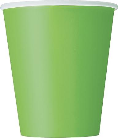 Paquete de 14 vasos de papel de color verde lima,Los vasos de papel tienen una capacidad de 266 ml a