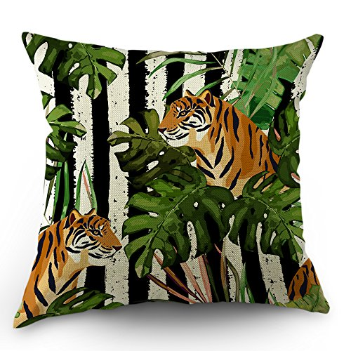 (Moslion Tiger Pillows Decorative Throw Pillow Cover Case Tiger with Tropical Palm Tree Tigers Pillow Case 18 x 18 Inch Cotton Linen Square Cushion Cover for Happy New Year Sofa Bedroom)