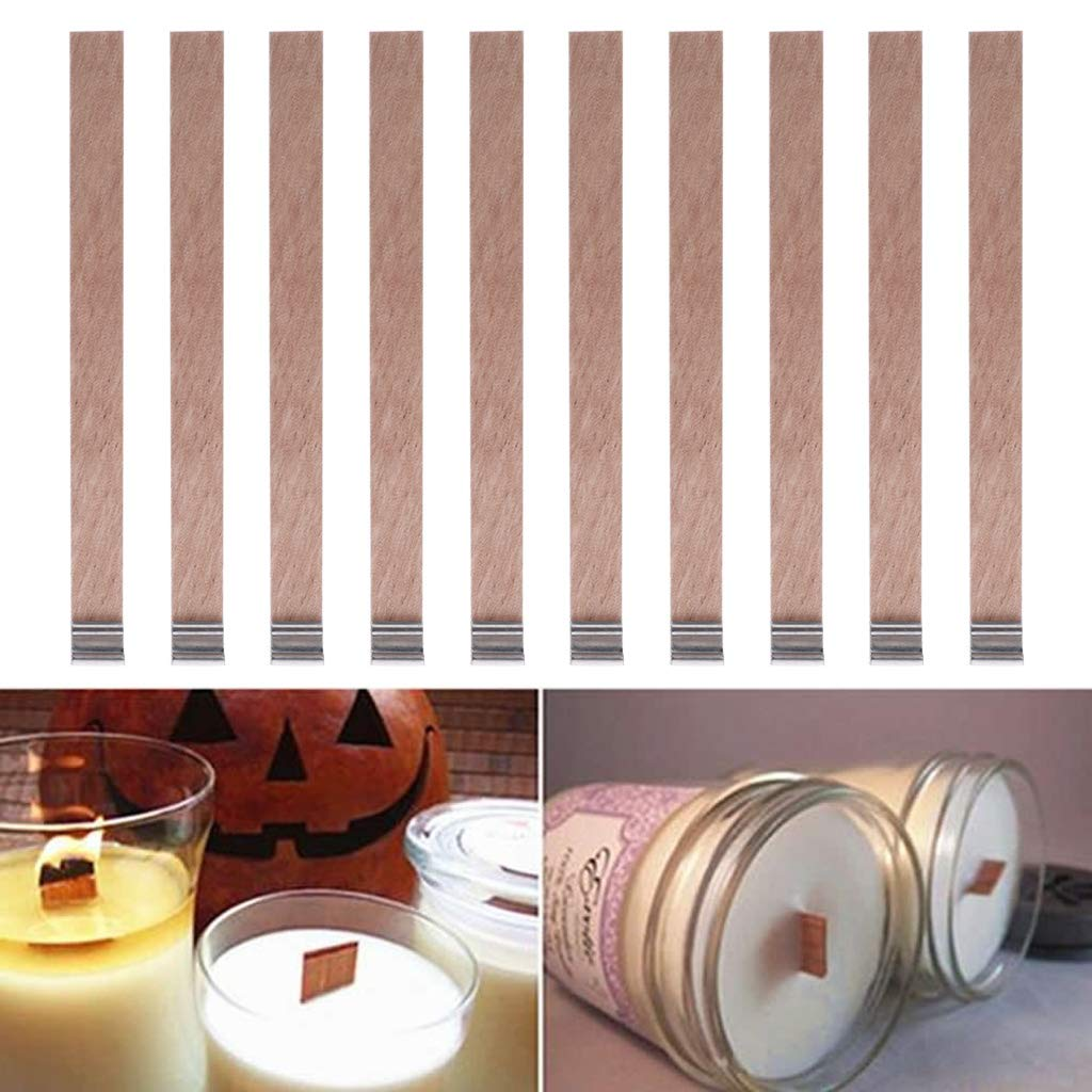 Home Decoration Craft,Candle Wood Wick with Sustainer Tab Candle Making Supply 10Pcs by Tebatu (Image #1)