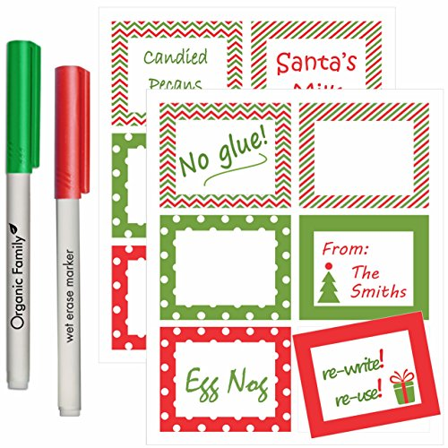 Holiday Reusable Labels - 12 Christmas Vinyl Cling Stickers for Glass, Ceramic, Metal, Plastic - They Stick with No Glue - Re-Write with Wet Erase Markers Included - Tag Gifts, - Pitcher Tag