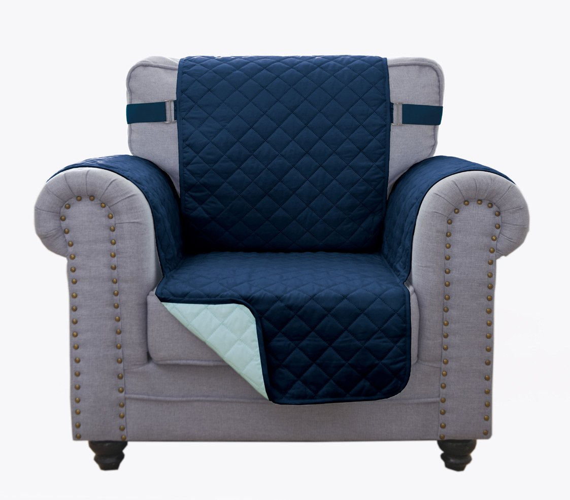 (Chair, Navy/Blue) - Superior Quality Reversible Chair Cover 160cm X 190cm -Furniture Protector For Pets, Kids, Dogs-Large Sofa, Standard Sofa, Loveseat, Recliner and Chair (Chair-Navy/Blue)   B072KT4GR1