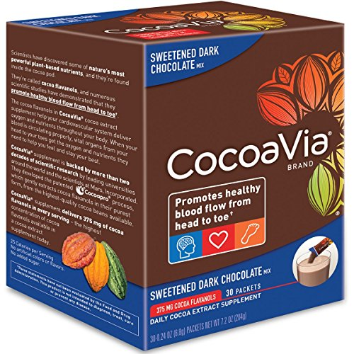 CocoaVia Cocoa Extract Dietary Supplement Sweetened Dark Chocolate Flavor Powdered Mix 30 Packets