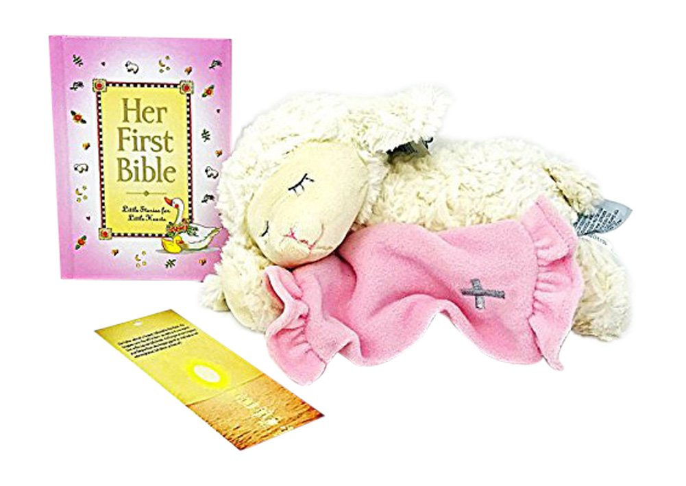 Baptism Gifts for Baby Girl - Her First Bible Book with Pink Plush Lamb That Recites Now I Lay Me Down to Sleep Makes Perfect Christening Gift - Bonus Kid's Lord's Prayer Bookmark (Her First Bible)