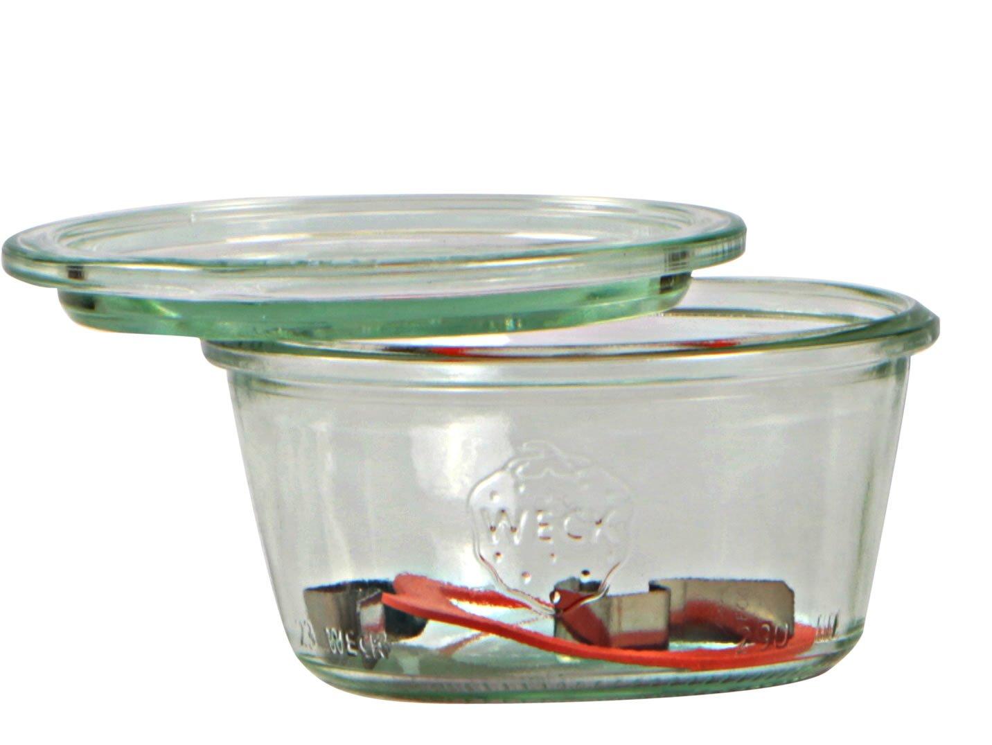 Weck Vasetto 370 ml con Coperchio da 100 mm, Completi di Guarnizione e Clips, Scatola da 6 Pezzi, Vetro, Trasparente 3286300 barattoli; coperchi