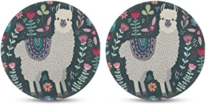 Xhuibop Cup Pads Set 2 Pack Floral Llama Print Car Coaster for Office Tabletop Decor Christmas Accessory Kitchen Desk Round Bottle Coasters
