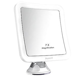 Auxent ESPEJO DE MAQUILLAJE LED 7X Aumento Espejo cosmético luminoso con base de ventosa, 360 Rotación, cuadrangular Portátil y sin cable, Blanco