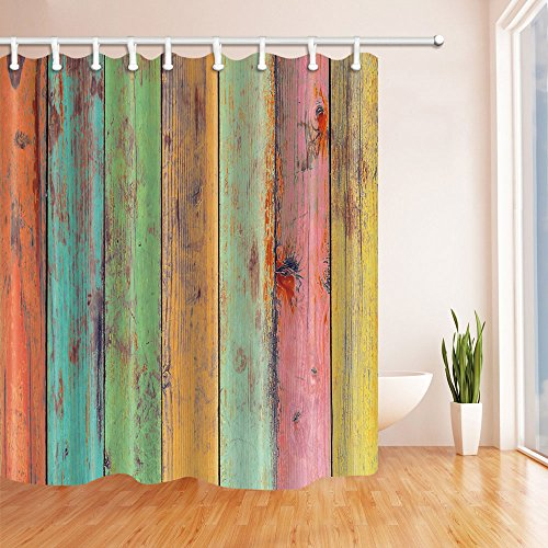NYMB Vintage Wallpaper colorful Artwork Painted on Wood Shower Curtain 69X70 inches Mildew Resistant Polyester Fabric Bathroom Fantastic Decorations Bath Curtains Hooks Included (Wallpaper Artworks)