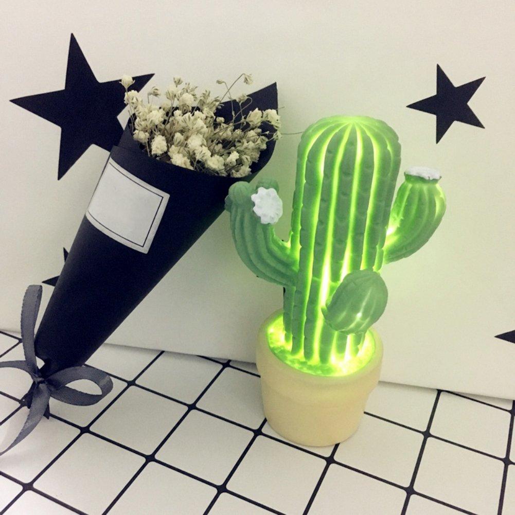 YUnnuopromi Fashionable LED Plante de cactus Style Nuit Lampe Chambre Home Decor Cadeau, vert, Unregelmä ß ige 2.00W Unregelmäßige 2.00W