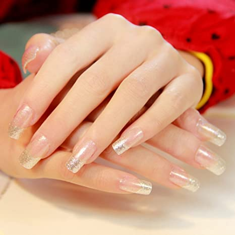YUNAI 24pcs/set uñas falsas Transparente francés Uñas postizas Resplandecer Uñas largas Diseño