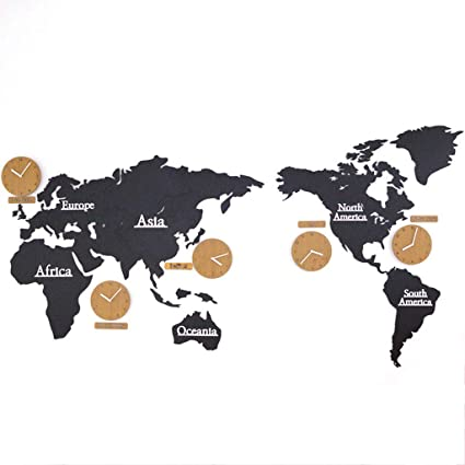 NS Reloj Pared Mapa Mundial, Madera Digital Silencio Sin Tictac Sala Estar Dormitorio Oficina Etiqueta