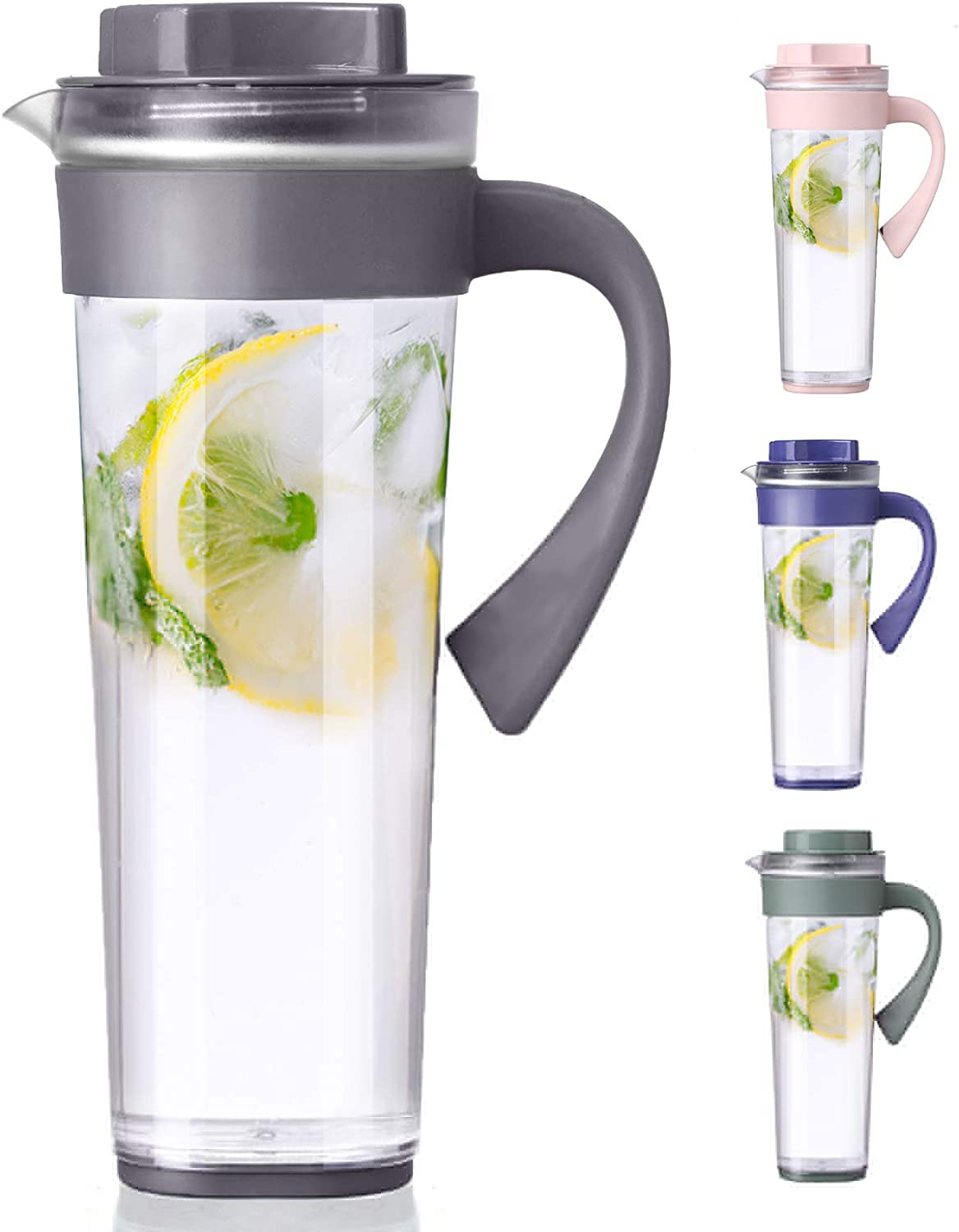Plastic Pitcher,Lemonade Pitcher,Ice Tea Pitcher,Premium Quality Plastic Water Pitcher,for Hot and Cold Water, Drinks, Wine, Tea, Coffee,Ice Lemon Tea and Juice Beverage,1 quart/33 oz,Gray