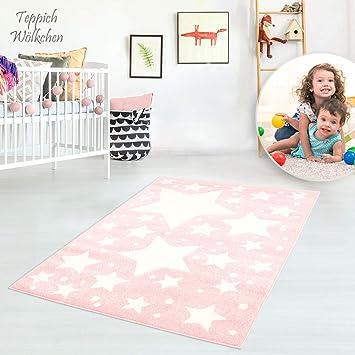 80x150 cm Kinderteppich Flachflor Bueno Konturenschnitt mit Mond Wolken Sterne in Rosa Creme f/ür Kinderzimmer; Gr/ö/ße