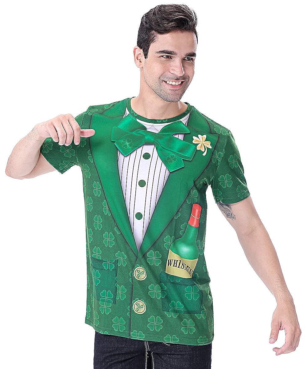 TALLA XXL - Busto: 126 cm. COSAVOROCK Disfraz de Leprechaun Hombre Traje de San Patricio Camiseta Verde