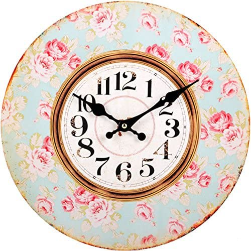 Jones Home And Gift Shabby Chic Blue And Pink Rose Wall Clock 34 Cm Mdf Multi Colour 1 5 X 34 X 34 Cm Amazon Co Uk Kitchen Home
